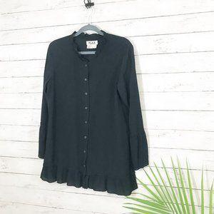 Flax Black Button Down Bottom Ruffle Rayon Shirt